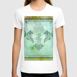 Music, decorative clef with floral elements T-shirt