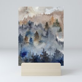 Watercolor abstract forest landscape Mini Art Print