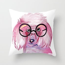 Pink SnapChat Poodle Throw Pillow