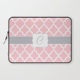"Light Pink Moroccan Quatrefoil Pattern with ""C"" Monogram Laptop Sleeve"