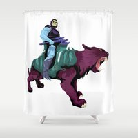 skeletor Shower Curtains featuring Skeletor x MrWetpaint by Mr Wetpaint