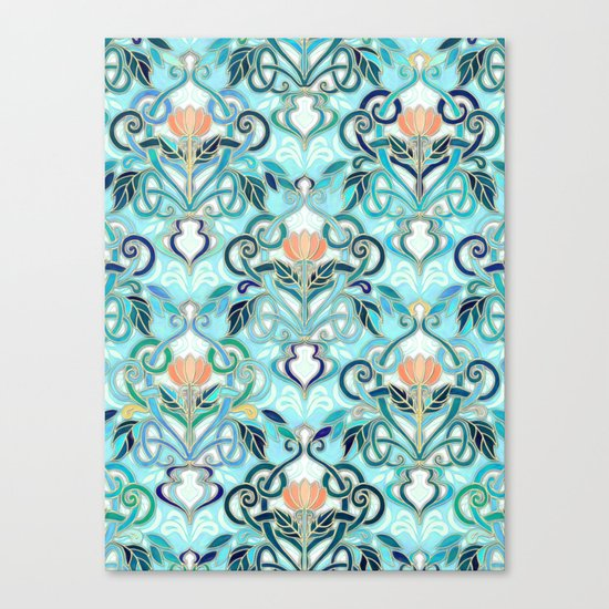 Ocean Aqua Art Nouveau Pattern with Peach Flowers Canvas Print