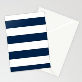 Wide Horizontal Stripes - White and Oxford Blue Stationery Cards