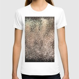 Sparkling GOLD BLACK Lady Glitter #1 #decor #art #society6 T-shirt