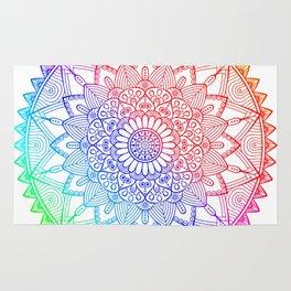 Rainbow Mandala Doodle Rug