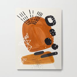 Fun Mid Century Modern Abstract Minimalist Vintage Brown Organic Shapes With Geometric Patterns Metal Print