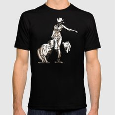 The cowgirl and the pigs MEDIUM Mens Fitted Tee Black