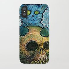 Blue Cat on a Skull iPhone X Slim Case