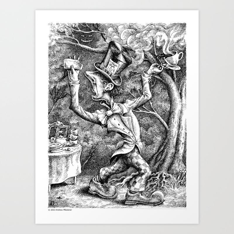 The Mad Hatter Alice In Wonderland Art Print By Bartlebythescribbler Society6
