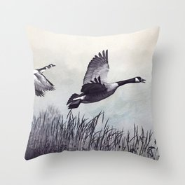 Graceful Canada Geese Flying Throw Pillow