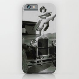 Classical Ballet Toe Pointe technique on the hood of classic car black and white photograph / art photography iPhone Case