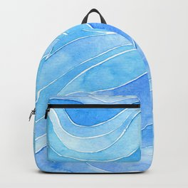 Watercolor blue waves Backpack