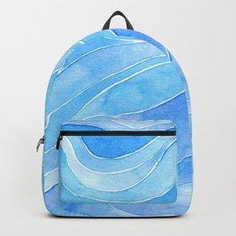 Watercolor blue waves Backpack