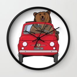 A bear driving a red vintage car Wall Clock