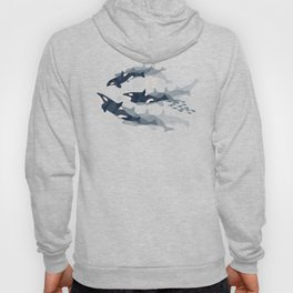 Orca in Motion / blush ocean pattern Hoody