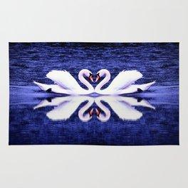 Swans in Love-dark blue Rug