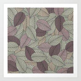 Vector Seamless Leaves Pattern II Art Print