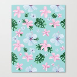 Peaceful / tropical / flowers / leaves Canvas Print