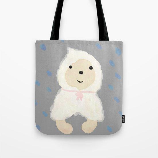 Alternative rain wear(Retriever wears a plastic bag in the rain) Tote Bag