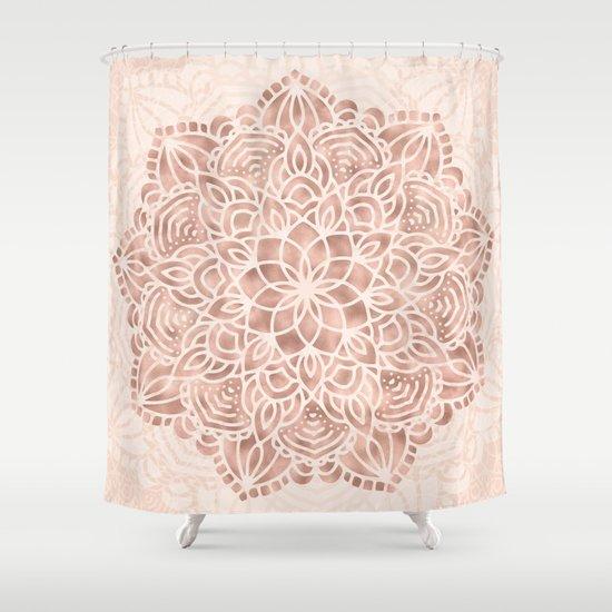 Mandala Seashell Rose Gold Coral Pink Shower Curtain By Naturemagick    Society6
