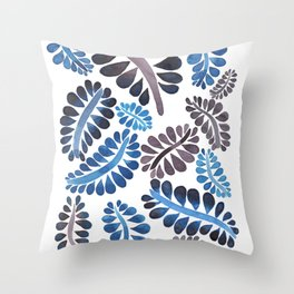 Blue leaves pattern Throw Pillow