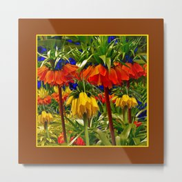 COFFEE BROWN YELLOW & ORANGE CROWN IMPERIALS GARDEN Metal Print