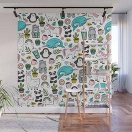 Girly Icon Art, Narwhals, Pandas, Llamas, Unicorns, Penguins and Baby Hippos, Emoji Tween Girl Art Wall Mural