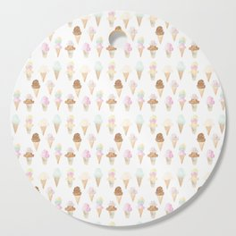 Watercolor Ice Cream Cones Cutting Board