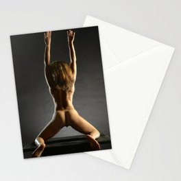 5314s-NLJ Beautiful Black Woman Kneeling Nude Strong Back Arms Up Rear View Behind Stationery Cards
