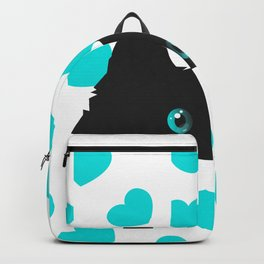 Cat on Blanket with Hearts Backpack