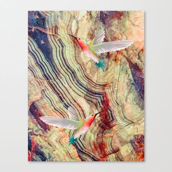 hummingbirds marble Canvas Print