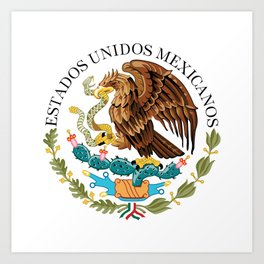 Coat of Arms & Seal of Mexico on white background Art Print