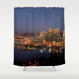Pittsburgh, Pennsylvania Downtown Night Time River with Bridges Shower Curtain