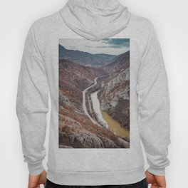 Beautiful picture of the canyon in Serbia. Dramatic sky and mountains Hoody