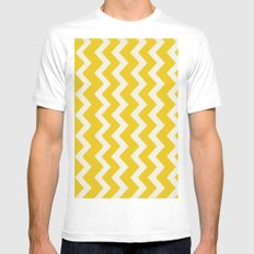 Crazy for Chevron - Mustard MEDIUM Mens Fitted Tee White