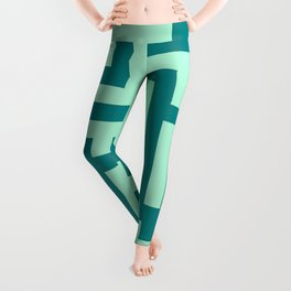Magic Mint Green and Teal Green Labyrinth Leggings
