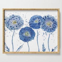 four blue dandelions watercolor Serving Tray
