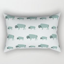 Bison And Baby (Moss) Rectangular Pillow