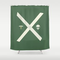mulder Shower Curtains featuring Mulder and Scully (green) by avoid peril