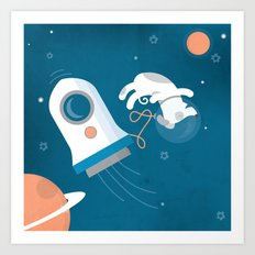 Darwin the Diddy Dog Diving into Deep Space Art Print