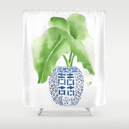 Ginger Jar + Elephant Ears Shower Curtain