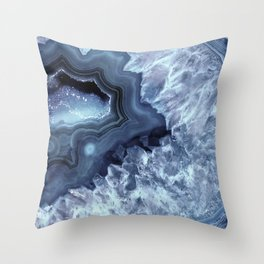 Steely Blue Quartz Crystal Throw Pillow