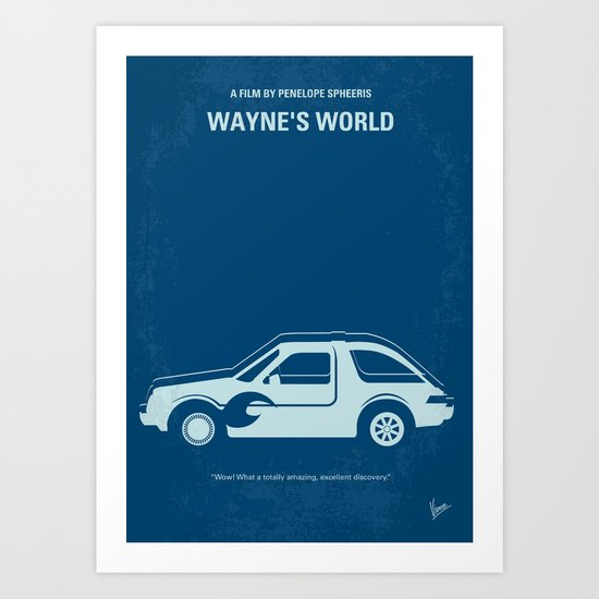 No211 My Waynes World minimal movie poster Art Print