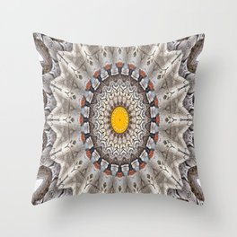 Lovely Healing Mandalas in Brilliant Colors: Black, Ecru, Gray, Silver, Orange, and Yellow Throw Pillow