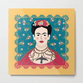 Frida Viva Cushion Yellow Metal Print