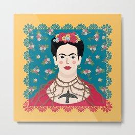 Frida Viva Cushion Yellow Metal Print