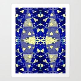 Tower Bridge Yellow Blue Abstract Pattern Art Print