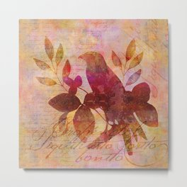 Bird and Leaf Illustration in warm colors Metal Print