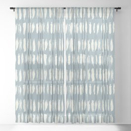 Cream & Pastel Blue Bold Grunge Vertical Stripe Dash Line Pattern Inspired by 2020 Color of the Year Sheer Curtain