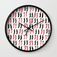 socks Wall Clocks featuring Hanging socks by Periwhat